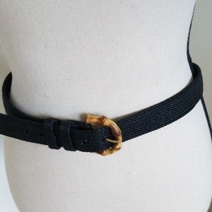 Talbot's Black Woven Bamboo Buckle Belt